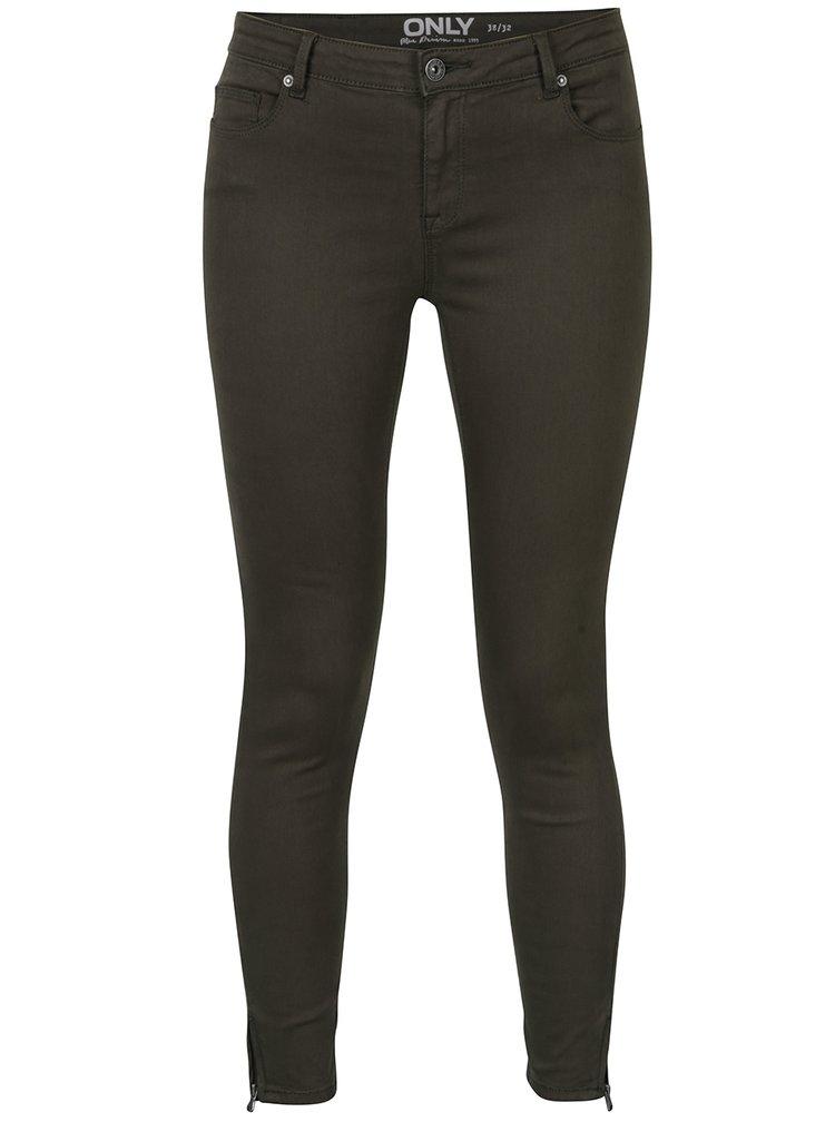 Khaki zkrácené skinny džíny ONLY Serena