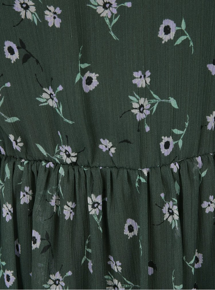 Tmavě zelené šaty s odhalenými rameny Miss Selfridge