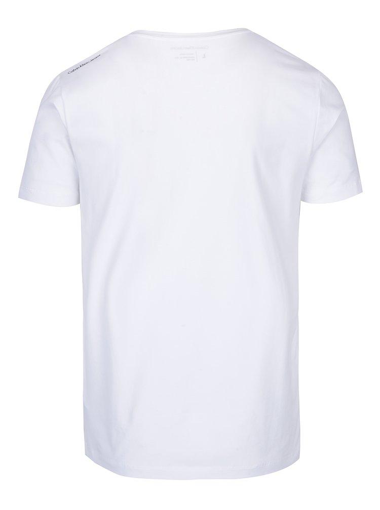 Bílé pánské tričko s potiskem Calvin Klein Jeans Topol