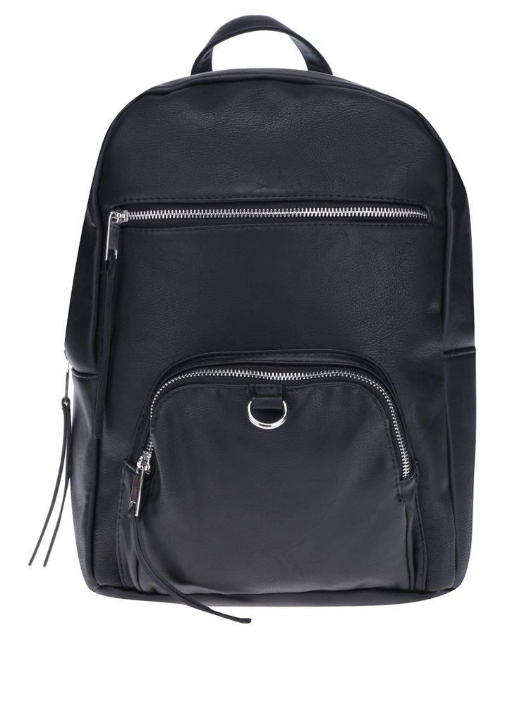 Černý koženkový batoh Pieces Suni