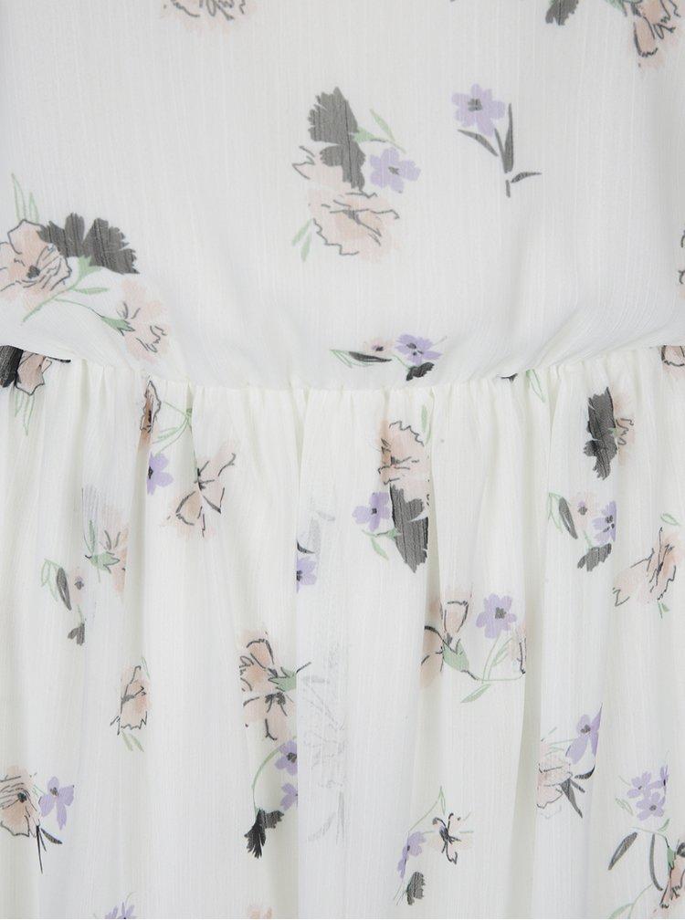 Krémové květované šaty s odhalenými rameny Miss Selfridge