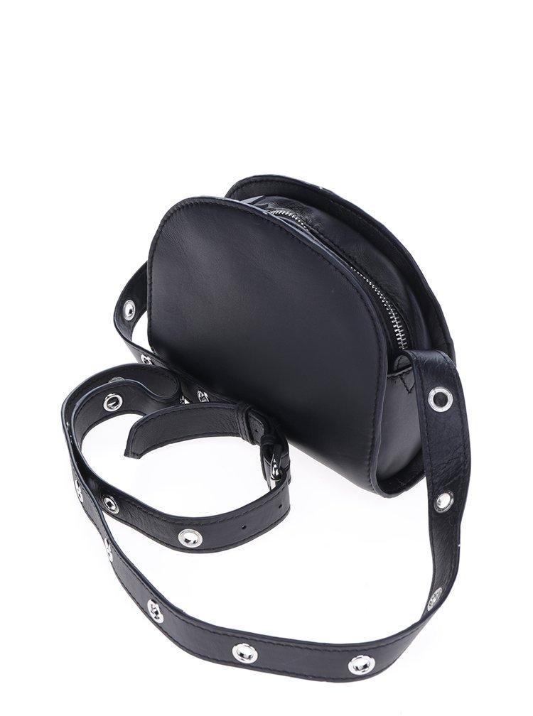 Černá kožená crossbody kabelka Pieces Noreem