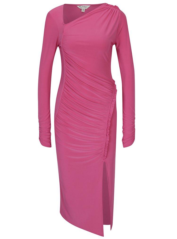 Růžové midi šaty s řasením a dlouhým rukávem Miss Selfridge
