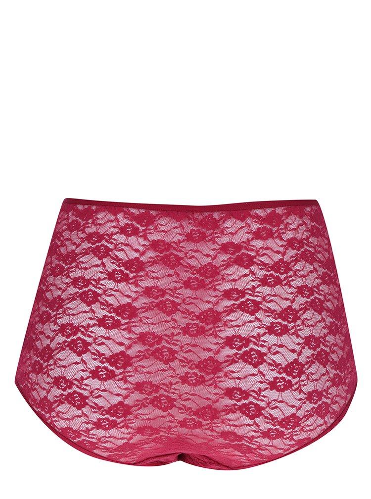 Vínové krajkové kalhotky s vysokým pasem Pieces Kit