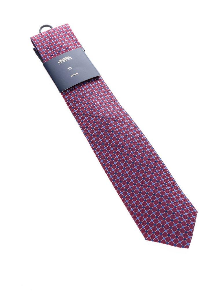 Vínová vzorovaná kravata Burton Menswear London