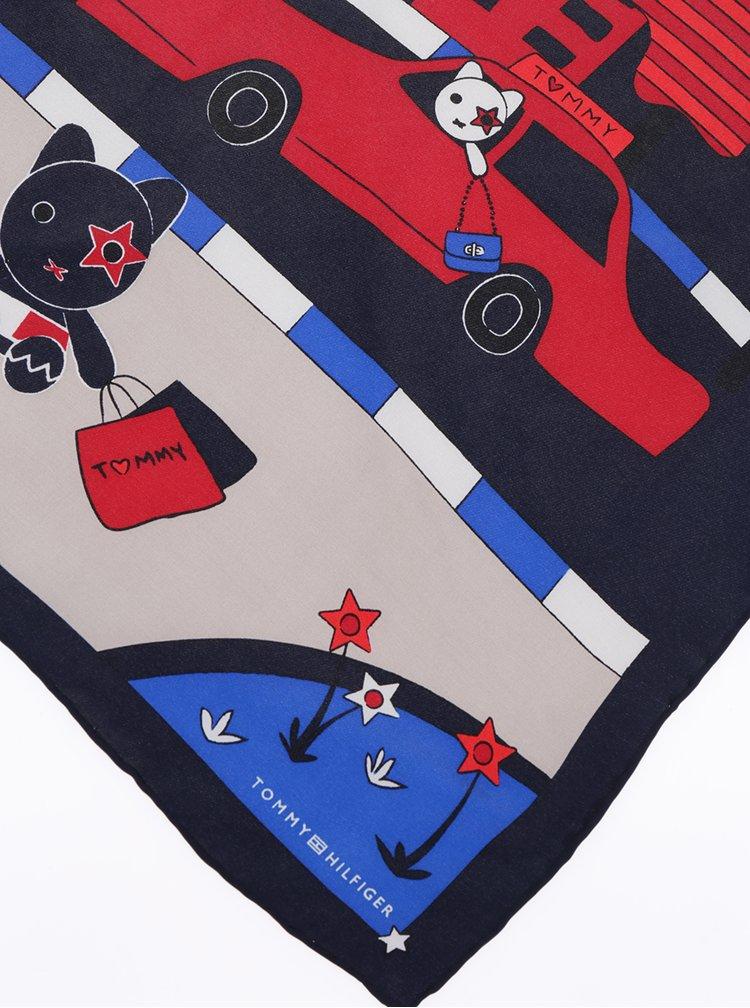 Červeno-modrý dámský hedvábný šátek s potiskem Tommy Hilfiger Mascot