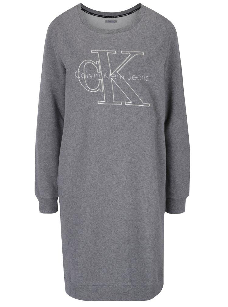 Šedé mikinové šaty s vyšitým nápisem Calvin Klein Jeans Dalis