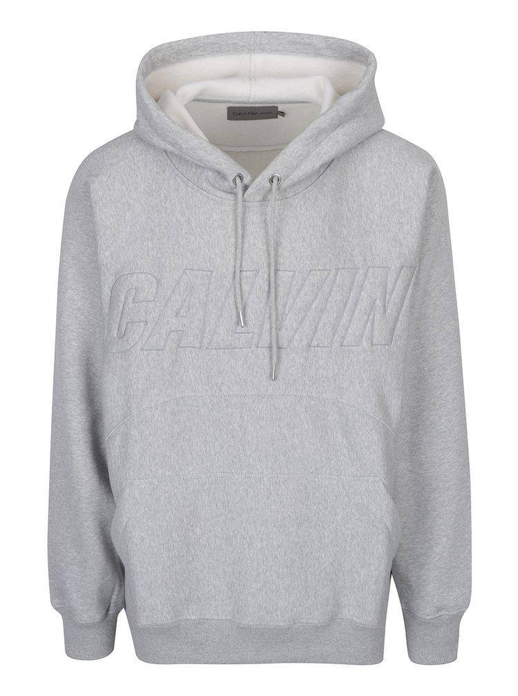 Světle šedá žíhaná pánská volná mikina s vyšitým nápisem Calvin Klein Jeans Harack