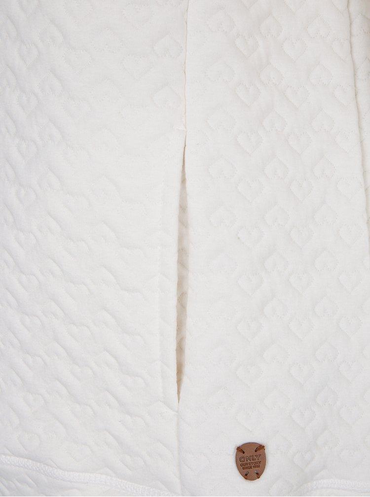 Krémová mikina s kapucí a plastickým vzorem ONLY Ann