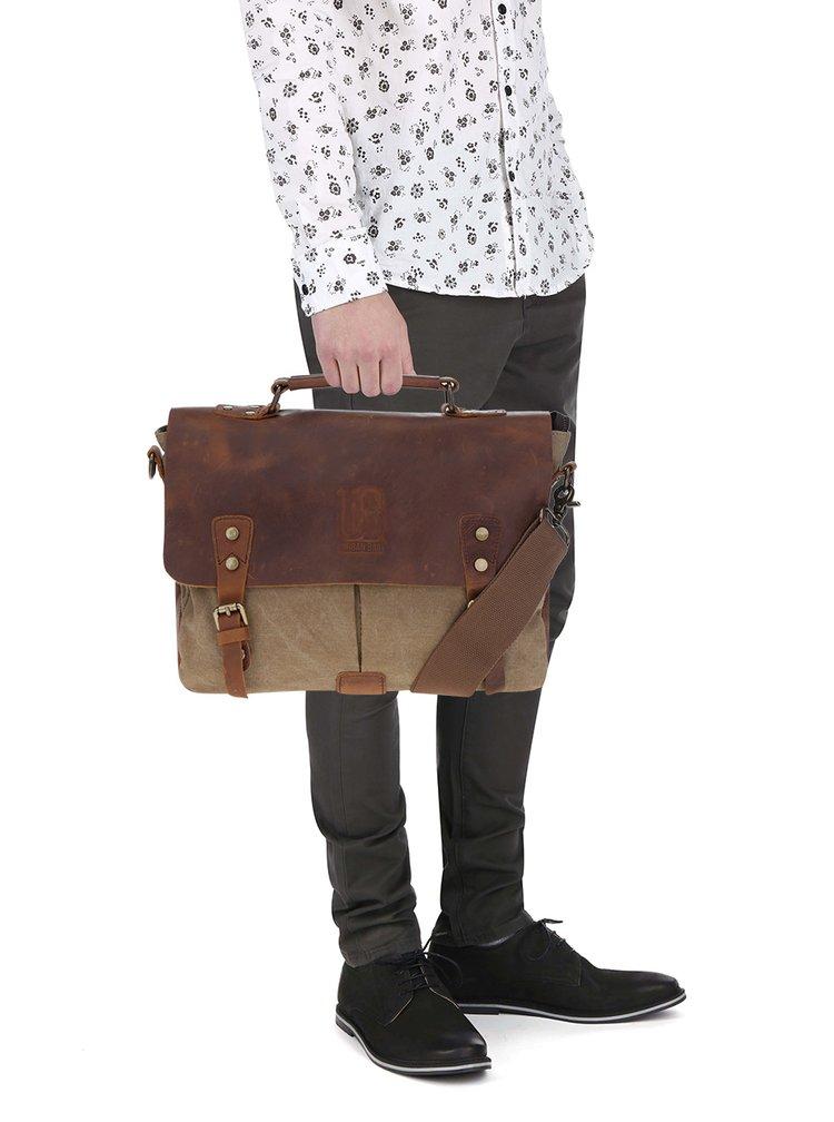 Geantă maro & bej cu detalii din piele Urban Bag