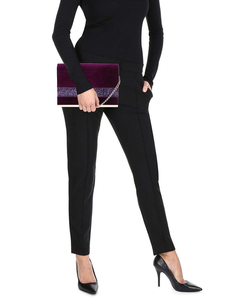 Plic violet din catifea cu baretă detașabilă din lanț Dorothy Perkins