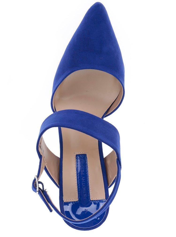 Modré sandálky v semišové úpravě na jehlovém podpatku Dorothy Perkins
