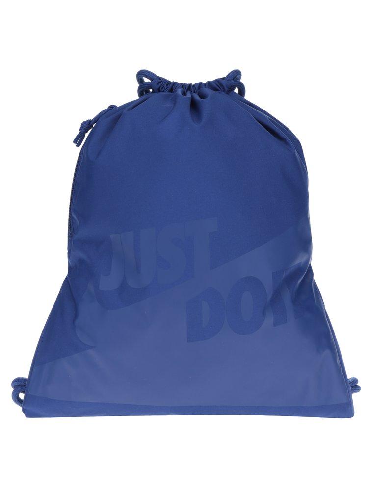 Tmavě modrý vak s kapsou a potiskem Nike Heritage 13 l