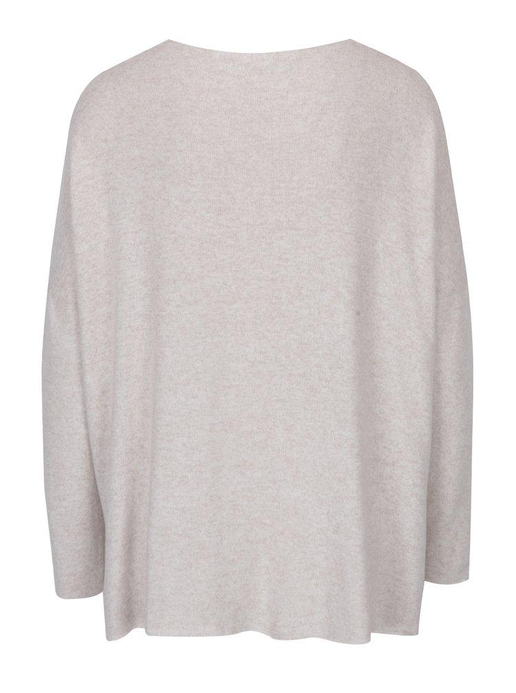 Béžový žíhaný volný svetr s véčkovým výstřihem ONLY Maye