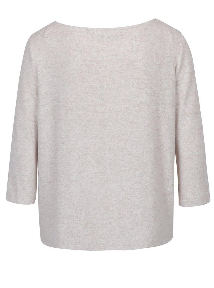 Béžový žíhaný volný svetr s volánem ONLY Maye