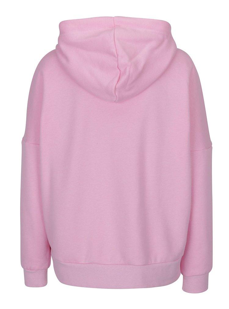 Růžová mikina s kapucí a ozdobnými zipy ONLY Ashley