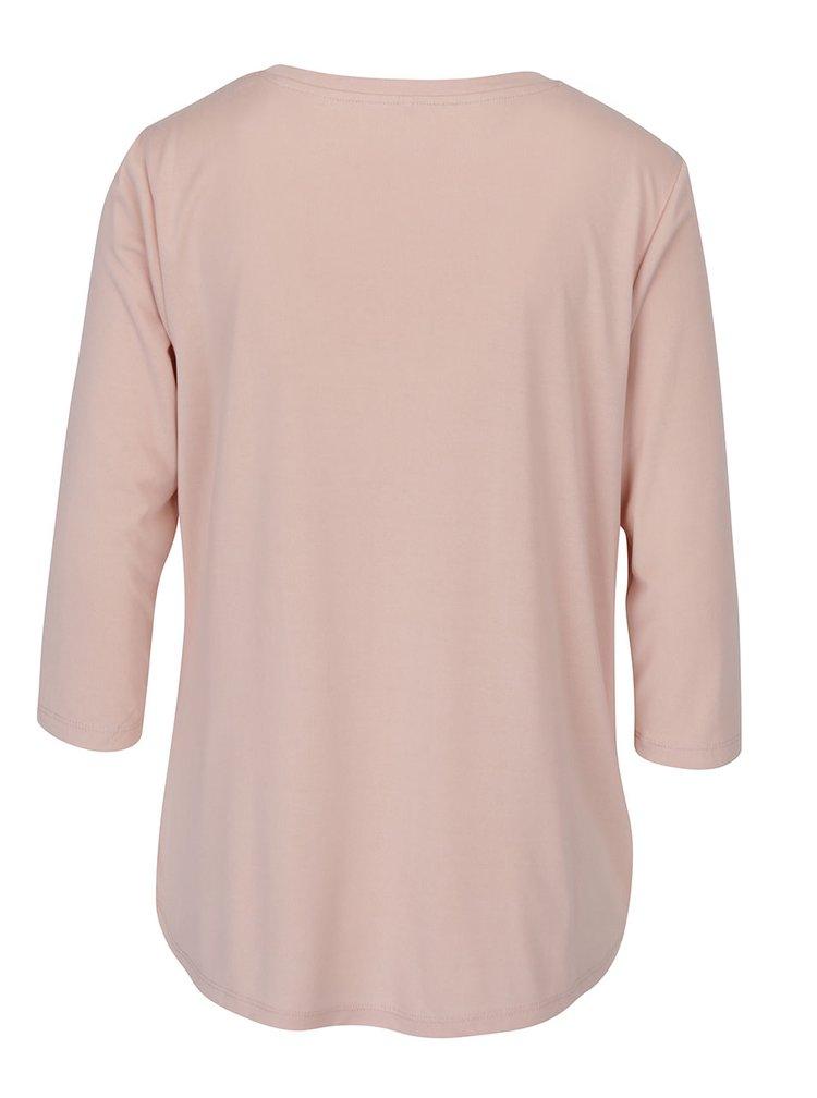 Světle růžové volné tričko s uzlem ONLY Miley