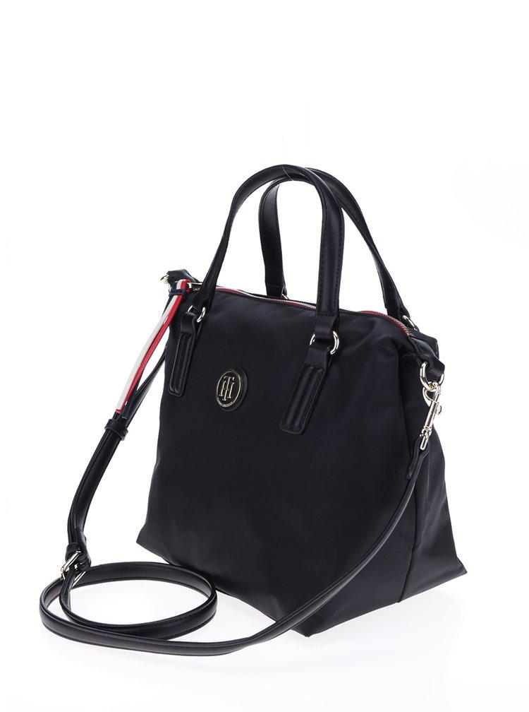 Černá kabelka s logem ve zlaté barvě Tommy Hilfiger Poppy Small