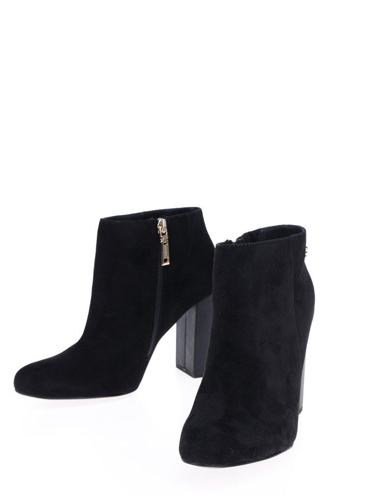 Černé dámské semišové boty na podpatku Tommy Hilfiger Shu