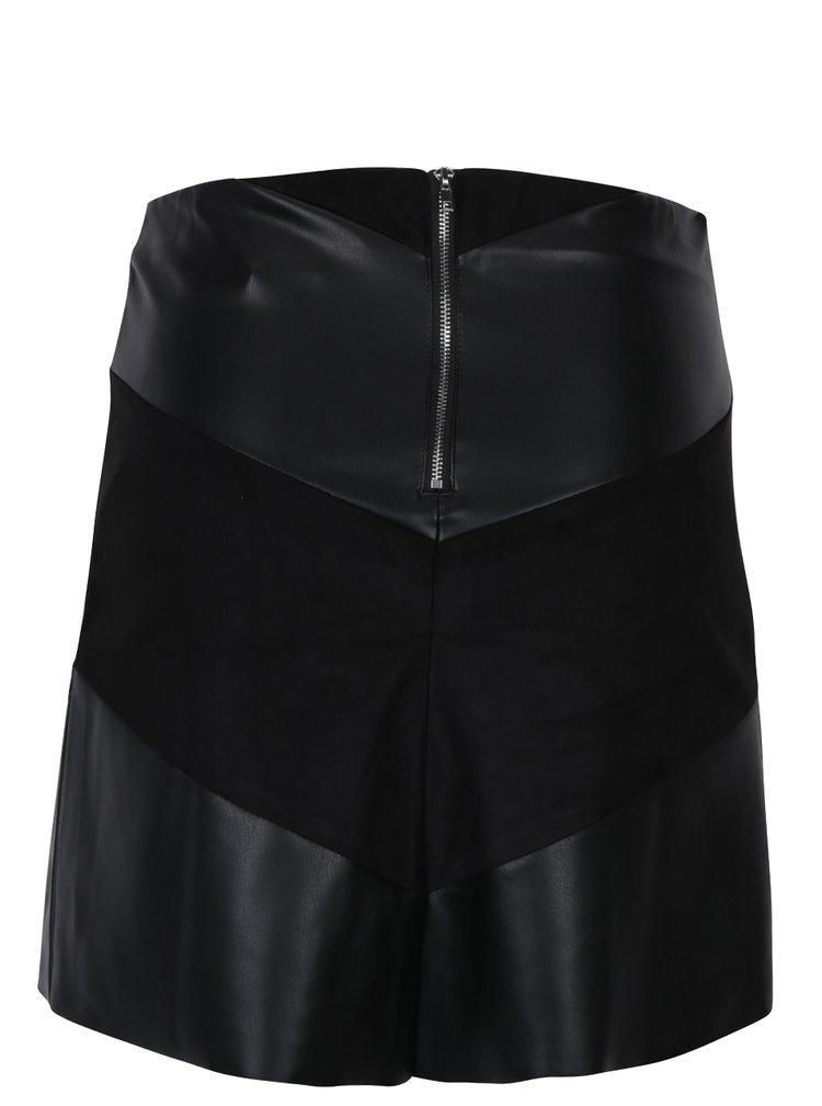 Černá koženková sukně s detaily v semišové úpravě Jacqueline de Yong Kristina