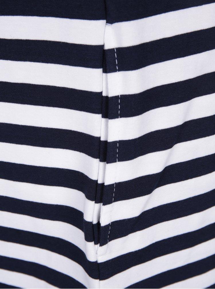 Bílo-modré pruhované šaty s potiskem a kapsami Mikela da Luka