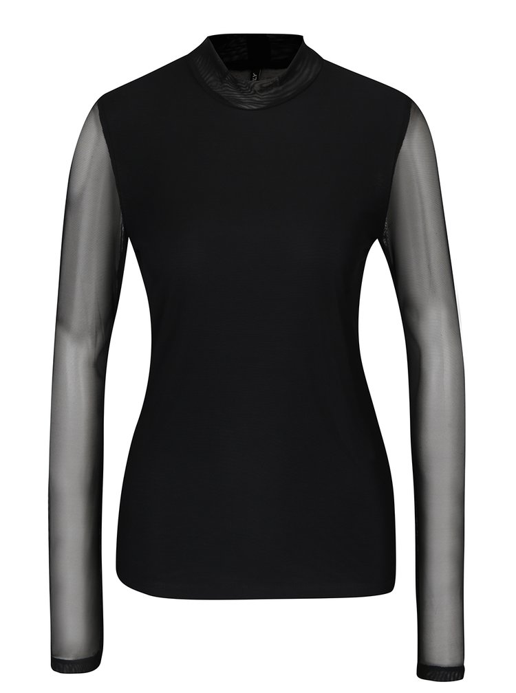 Bluză neagră cu mâneci și spate transparent - ONLY Erica