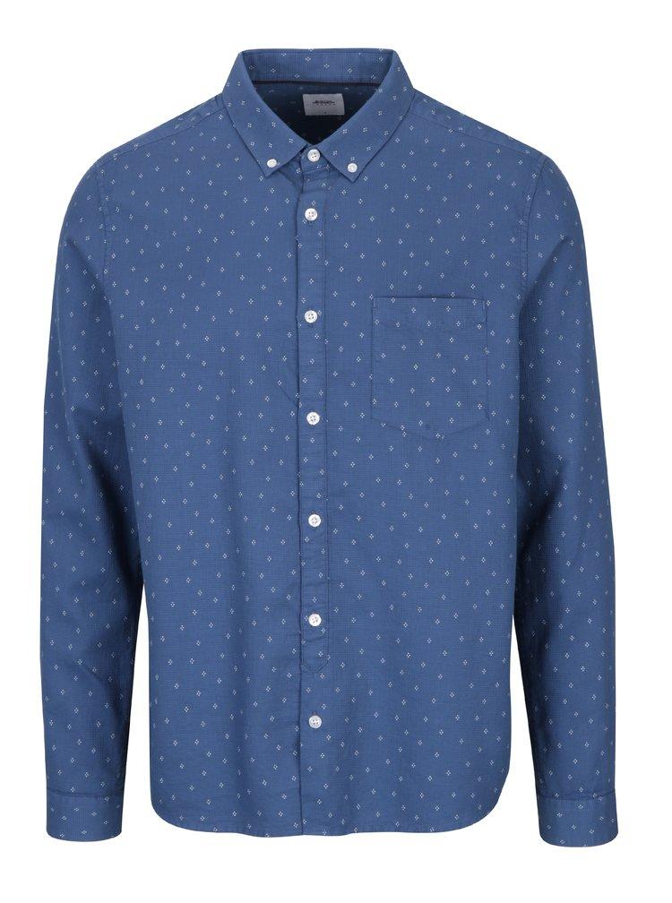 Tmavě modrá vzorovaná košile s náprsní kapsou Burton Menswear London