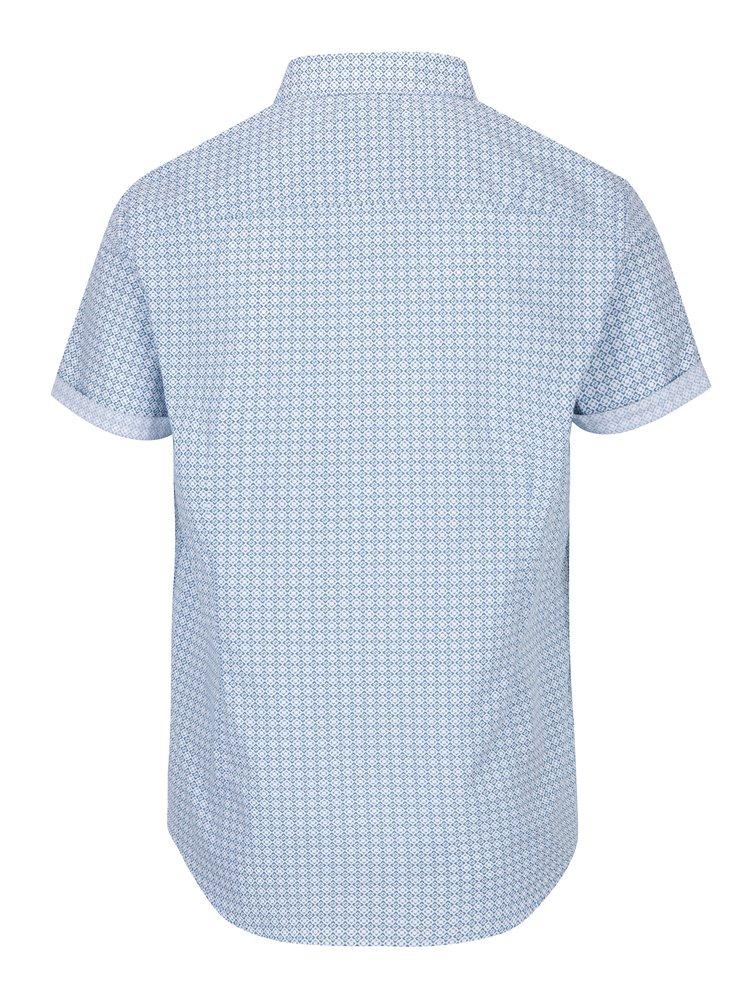 Cămașă din bumbac crem & albastru imprimeu abstract -  Burton Menswear London