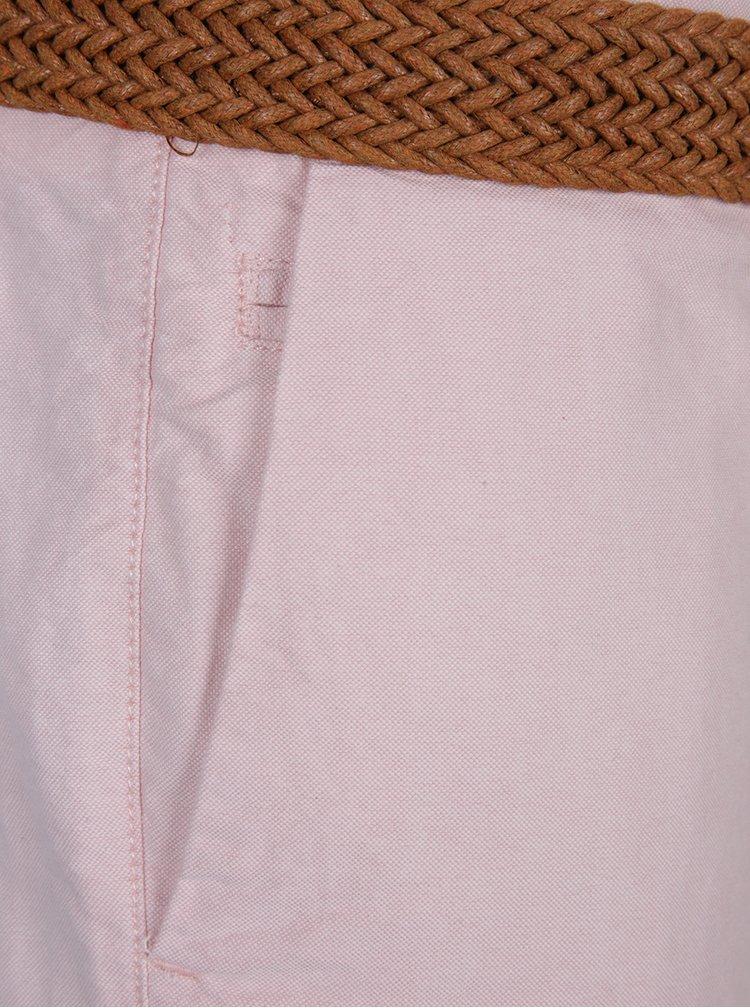 Světle růžové chino kraťasy s páskem Burton Menswear London