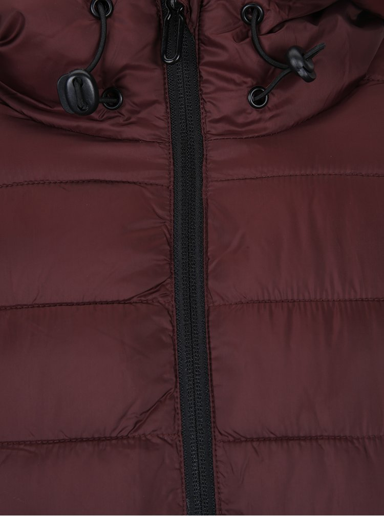 Vínová prošívaná bunda s kapucí ONLY & SONS Eddi