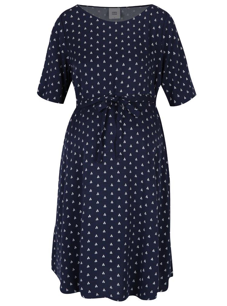 Tmavě modré vzorované těhotenské šaty Mama.licious Shada