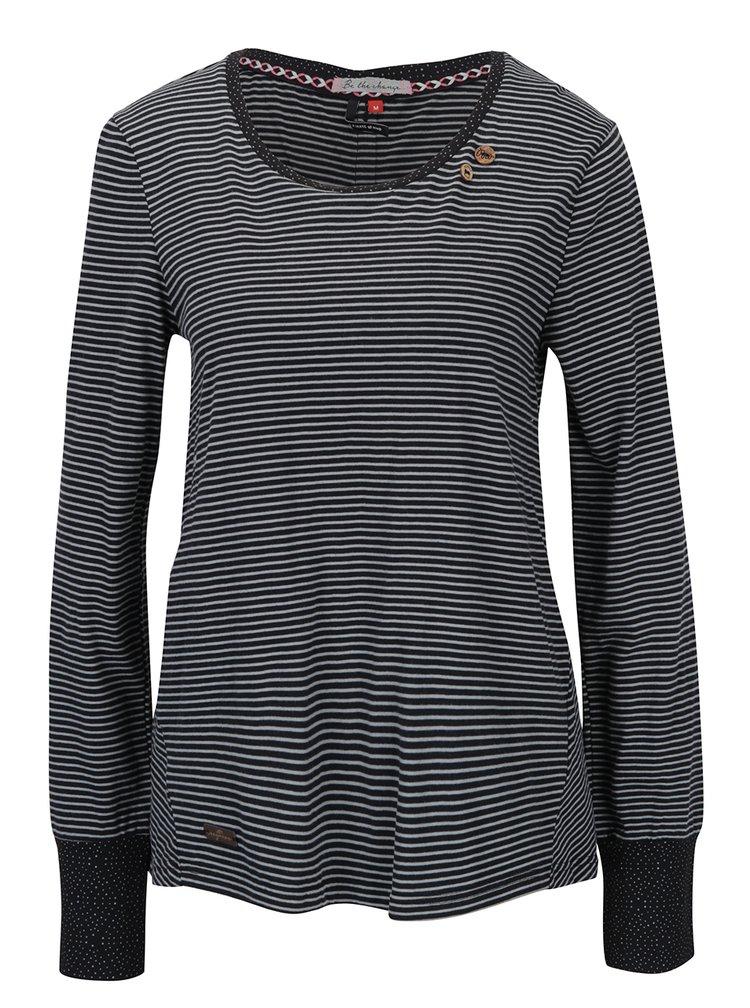 Černé pruhované tričko s knoflíky na zádech Ragwear Malina