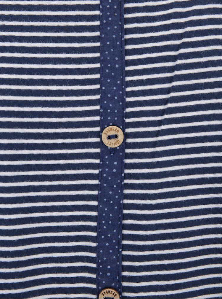 Modré pruhované tričko s knoflíky na zádech Ragwear Malina