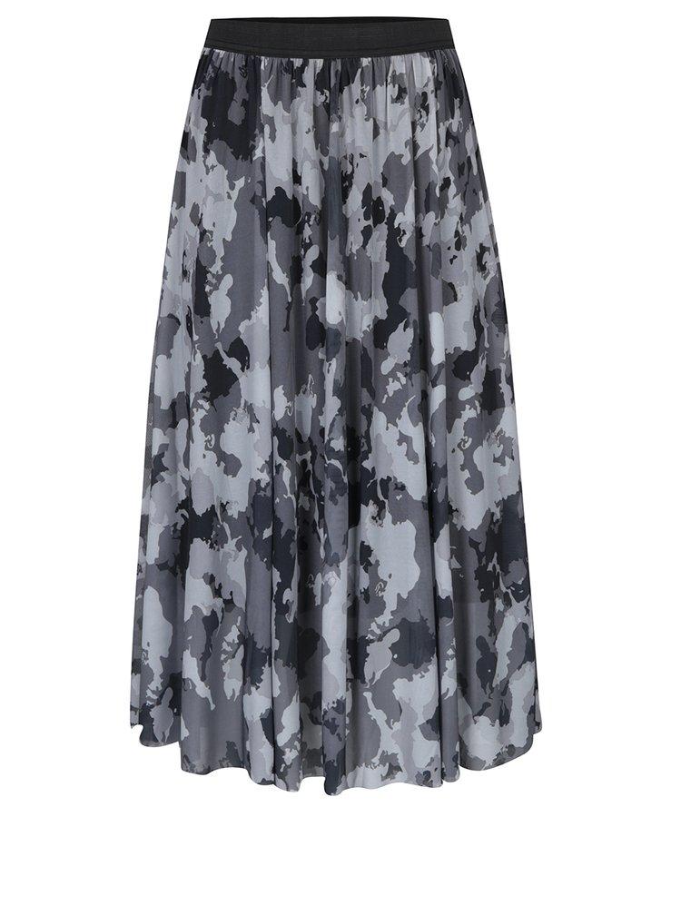 Fustă maxi plisată gri print camuflaj - ONLY Erica