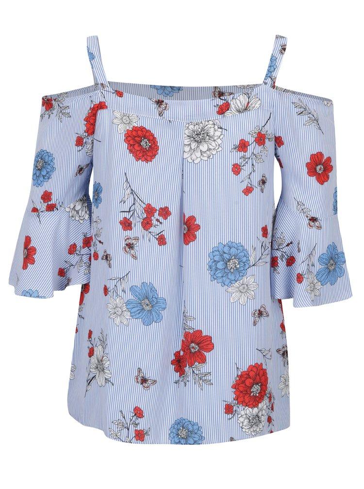 Modrá květovaná halenka s odhalenými rameny Dorothy Perkins Curve