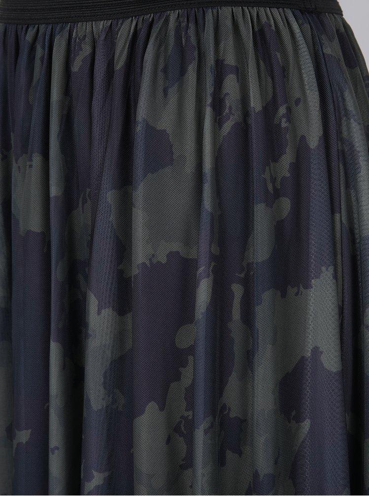 Khaki tylová midi sukně s maskáčovým vzorem ONLY Erica
