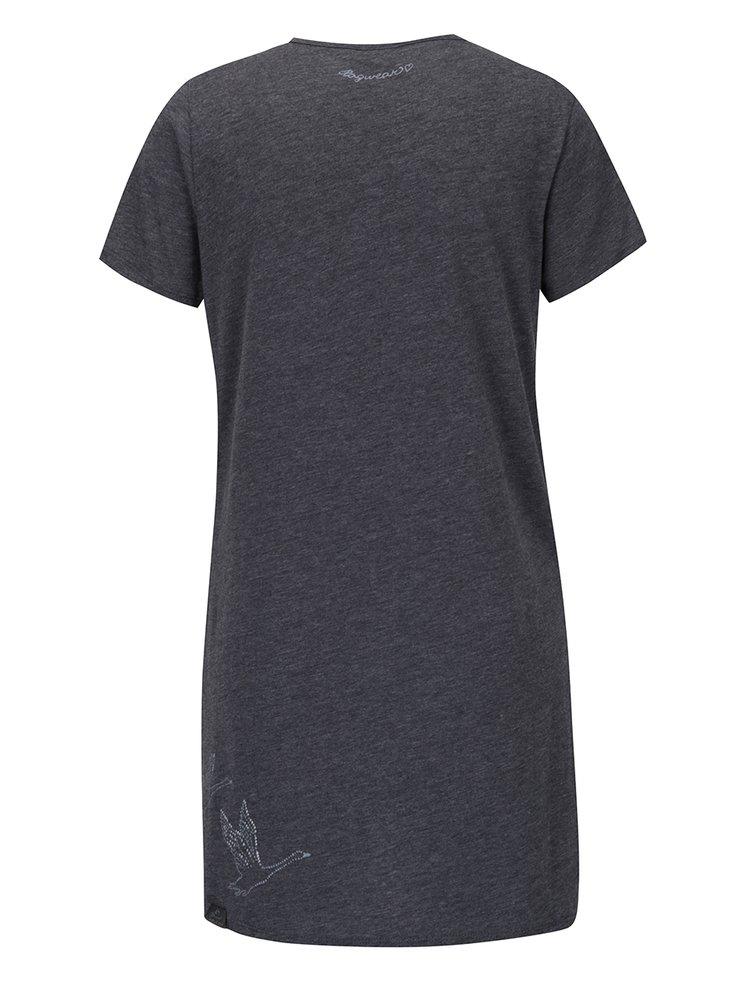 Šedé dámské žíhané dlouhé tričko s potiskem Ragwear Martina