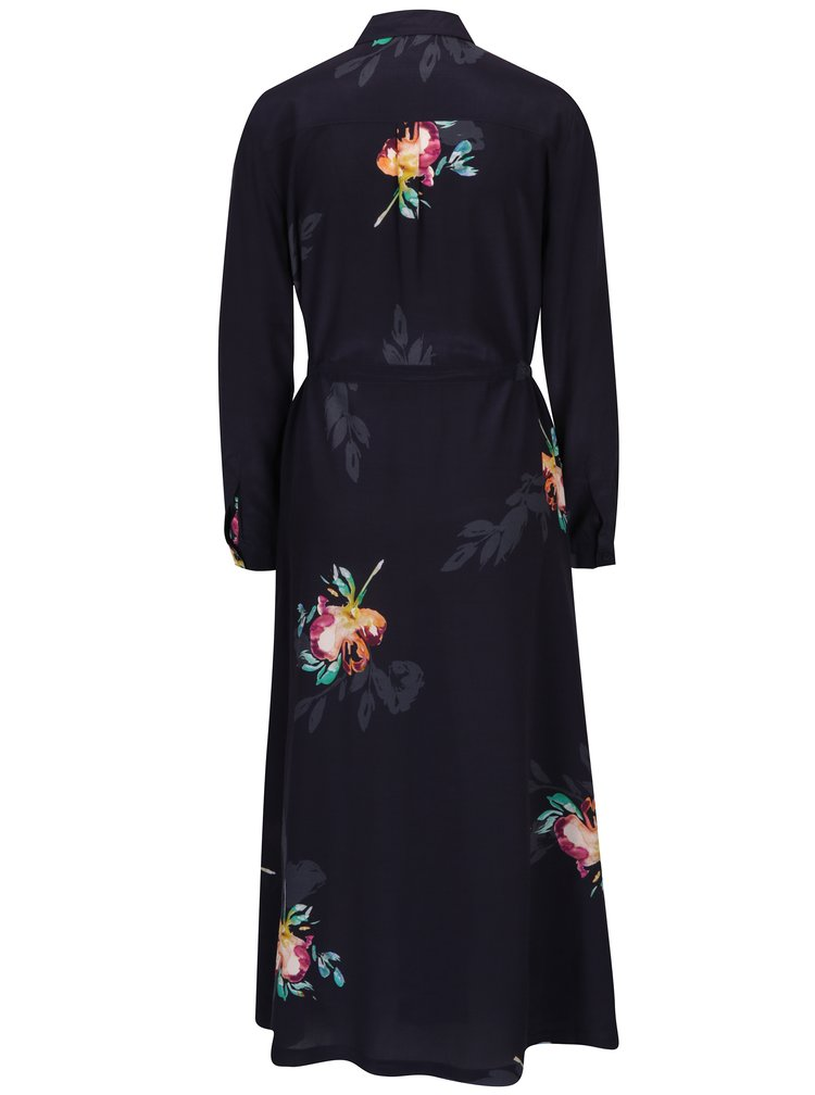 Rochie camasa lunga mov cu print floral  French Connection Delphine