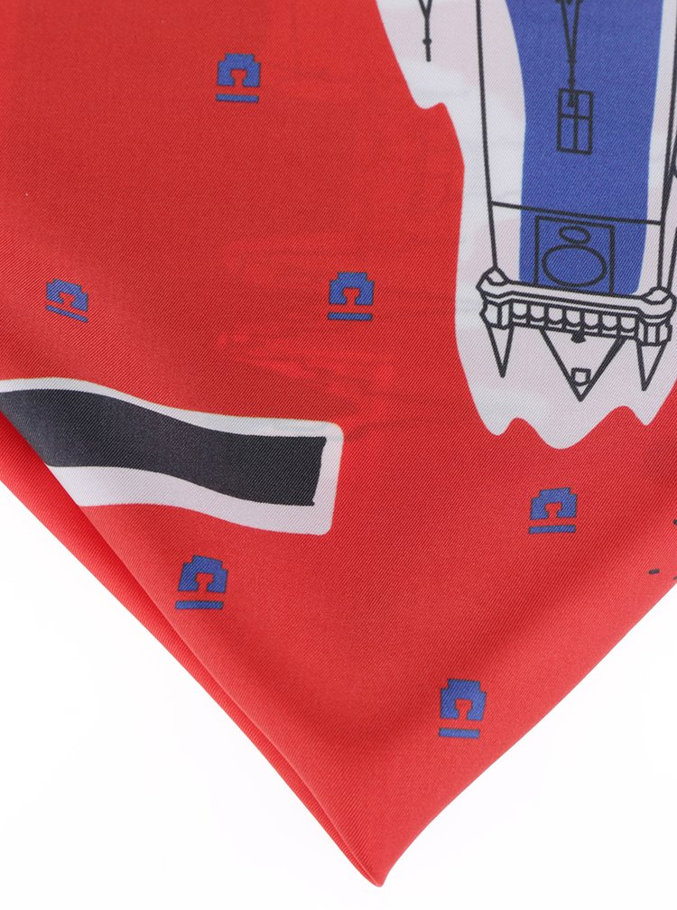 Eșarfă roșie din mătase naturală cu print - Prahy Emblemm