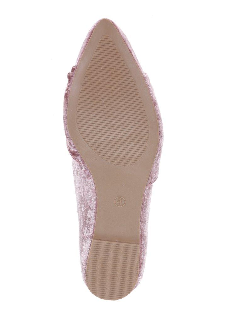 Růžové sametové baleríny Dorothy Perkins