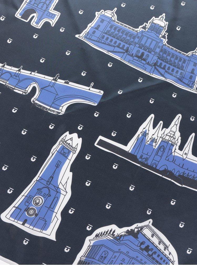 Eșarfă din mătase albastră cu print - Prahy Emblemm