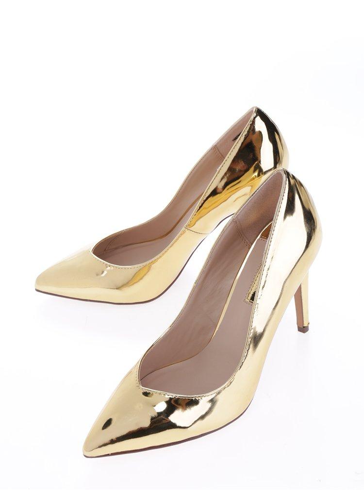 Lesklé lodičky ve zlaté barvě Dorothy Perkins
