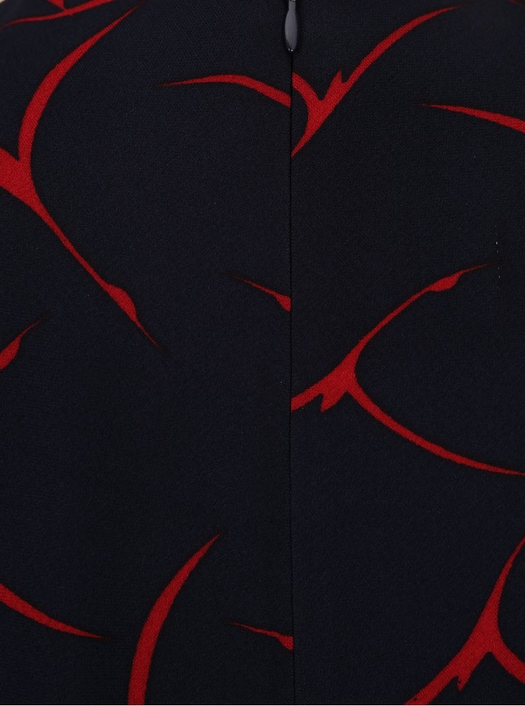 Rochie midi cloș bleumarin cu print roșu  French Connection Rosalind