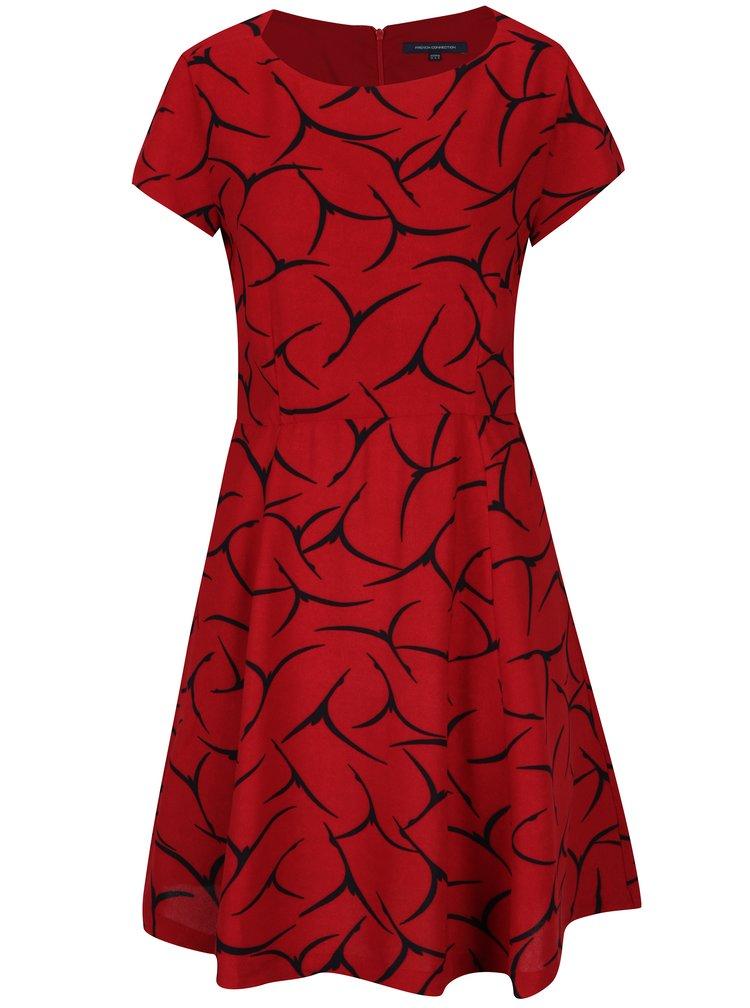 Rochie midi cloș roșie cu print negru  French Connection Rosalind