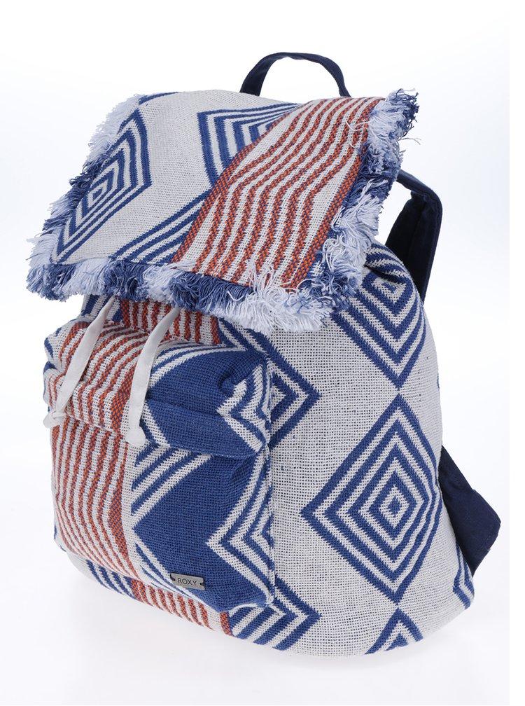 Modro-krémový vzorovaný látkový batoh Roxy Feeling