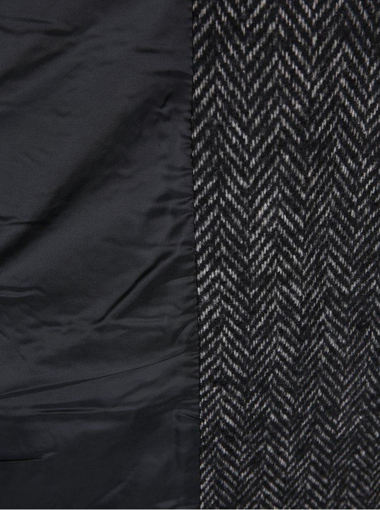 Černý dlouhý vzorovaný kabát s příměsí vlny ONLY Tessa