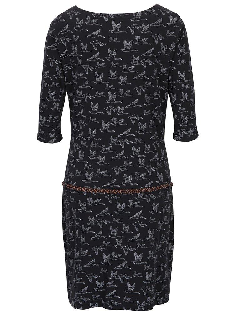 Černé vzorované šaty s páskem Ragwear Tanya