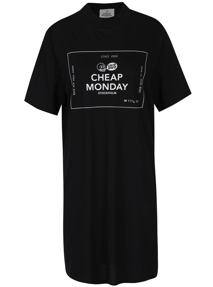 Černé volné šaty s krátkým rukávem a potiskem Cheap Monday Smash