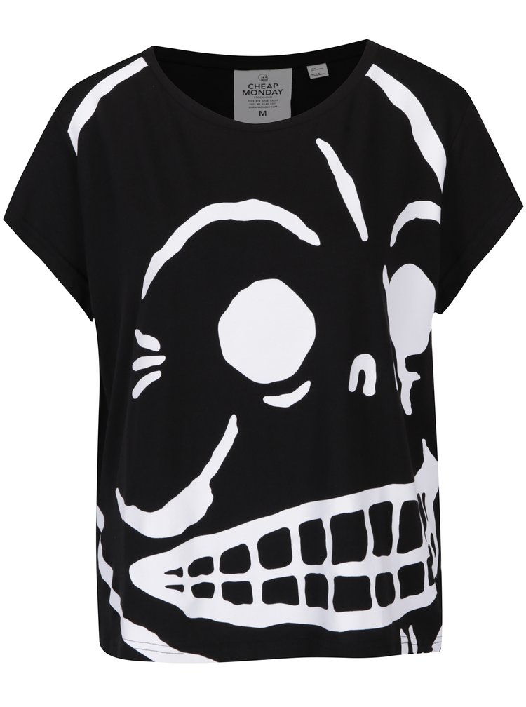 Tricou negru oversized cu logo print Cheap Monday Huge Skull