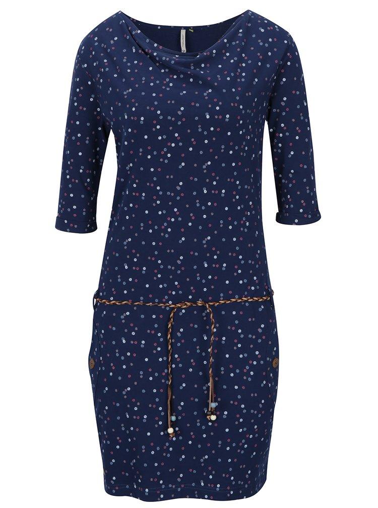 Modré puntíkované šaty s 3/4 rukávem Ragwear Tanya Organic